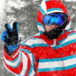 Skier Giving Peace Sign